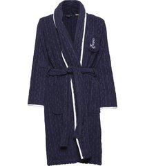 lrl cable terry shawl collar robe morgonrock blå lauren ralph lauren homewear
