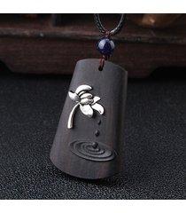 collana in legno di ebano etnico collana girocollo nera in stile vintage lunga per le donne