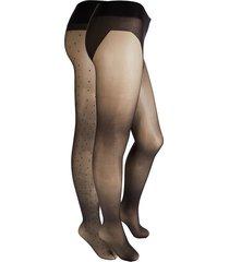 stems women's 2-pack sheer & mini dot tights - black - size m
