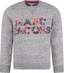 little marc jacobs grey girl sweatshirt with colorful logo