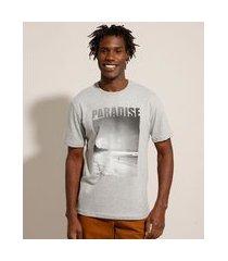 "camiseta paradise"" manga curta gola careca cinza mescla claro"""