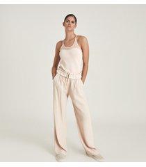 reiss ariah - fine knit racerback top in blush, womens, size xl