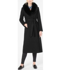 forecaster fox-fur-collar belted maxi wrap coat