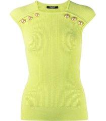 balmain decorative-button detail sleeveless top - green