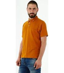 camiseta tipo polo de hombre, manga corta, 100% algodón, color amarillo