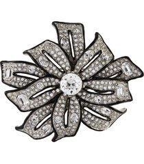 crystal silver ribbon brooch