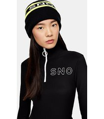 *black logo ski beanie by topshop sno - black