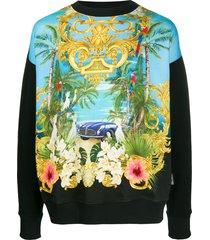versace jeans couture tropical print boxy fit sweatshirt - black