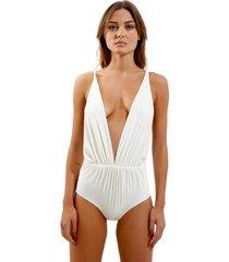body rosa chá louise beachwear off white feminino (off white, gg)