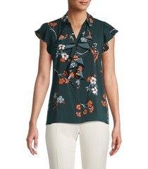 calvin klein women's floral ruffle button-down top - malachite - size m