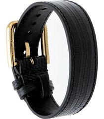 dolce & gabbana iguana-effect buckle bracelet - black