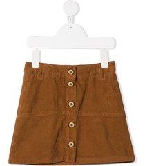 lanvin enfant buttoned velvet skirt - brown