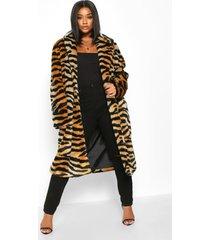 plus tiger print faux fur coat, brown