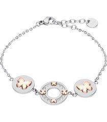 bracciale in acciaio con dettagli farfalle oro rosa e strass per donna