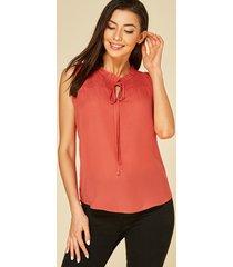 blusa sin mangas con diseño de amarre de cuello redondo naranja