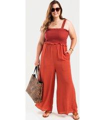 women's sienna smocked ruffled jumpsuit in tortoise by francesca's - size: 3x