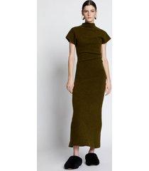 proenza schouler wool knit twisted dress dark loden/green s