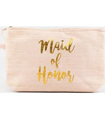 maid of honor straw pouch - blush
