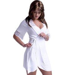 robe yasmin lingerie sereia manga curta branco