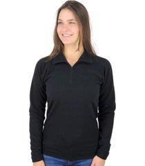 moletom térmico fiero thermo fleece meio zíper fleece preto