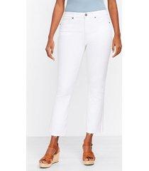 loft curvy fresh cut high rise kick crop jeans in white