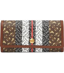 burberry monogram stripe e-canvas continental wallet - brown