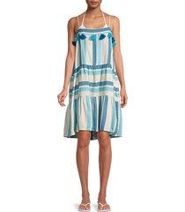 tessora women's rowan striped tiered dress - blue stripe - size xs