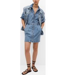 mango denim elastic waist dress