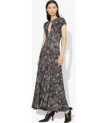 proenza schouler patchwork animal short sleeve matte jersey keyhole dress black/white geo xs