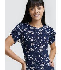 camiseta m/c con estampado floral color azul, talla 10