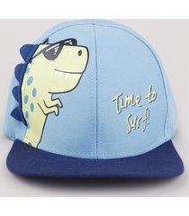 boné infantil aba reta dinossauro azul