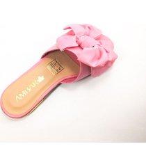 sandalia plana tela moño rosa