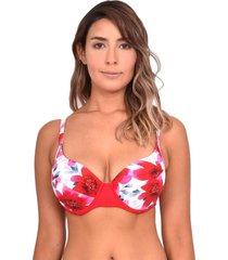bikini estilo sostén copa d estampado rojo samia