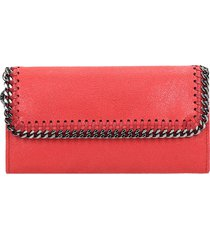stella mccartney falabella wallet in red faux leather