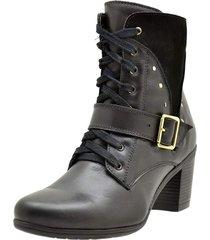 bota coturno  couro salto médio conforto leve casual preto