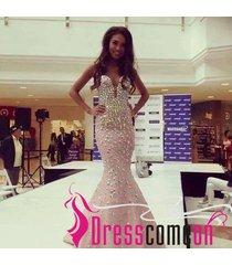 prom dress,evening dress,evening gown,pale pink prom dress,rhinestone dresses