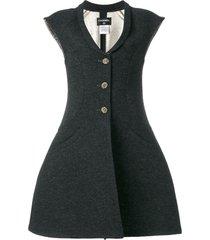 chanel pre-owned vest-overcoat dress - grey