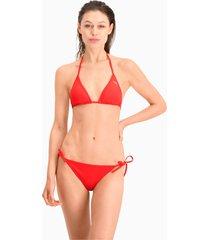puma swim side-tie bikinibroekje voor dames, rood, maat m