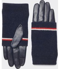 tommy hilfiger women's knit cuff leather texting gloves sky captain - m-l