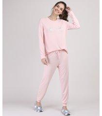 "pijama feminino ""lazy days"" manga longa rosa"