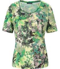 shirt blaadjes- en bloemenprint van basler groen