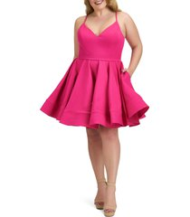 plus size women's mac duggal fit & flare cocktail dress, size 22w - pink