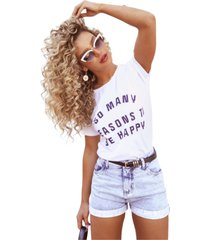 blusa in love t-shirt so many reasons branca