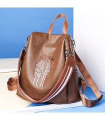 mochilas/ mochila de cuero de la pu de alta calidad-marrón