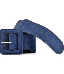 cinturón elástico con gamuza azul mailea