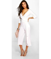 roll sleeve relaxed culotte jumpsuit, ivory