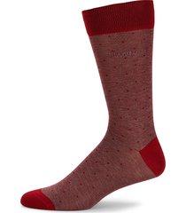 boss hugo boss men's pinstriped & polka dots mid-calf socks - medium red