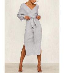 grey backless design v-neck dress