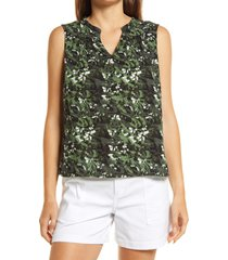 caslon(r) gathered a-line tank, size medium in green- black camo floral at nordstrom