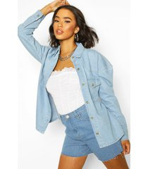 oversized mock horn denim shirt shacket, light blue